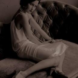 A photo of the artist Ksenia Parkhatskaya couch sepia