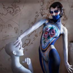 A photo of the artist Ksenia Parkhatskaya mannequin